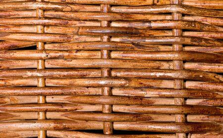 A closeup of a woven basket, rough texture Stock Photo