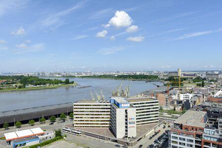 antwerp: Antwerp, Belgium - June 10, 2012: View to the north side of Antwerp from the roof of MAS Museum, Belgium
