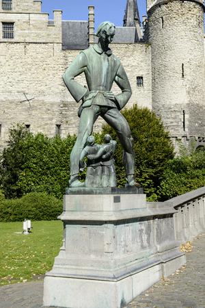 antwerp: Antwerp, Belgium - September 30, 2012: Statue of Lange Wapper in Antwerp, Belgium Editorial