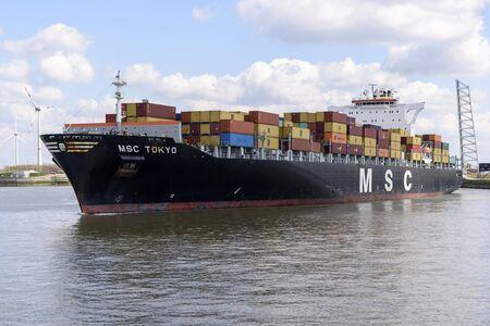 nautical structure: ANTWERP, BELGIUM - APRIL 5: MSC Tokyo in Berendrechtsluis in the port of Antwerp on April 5, 2015 in Belgium Editorial