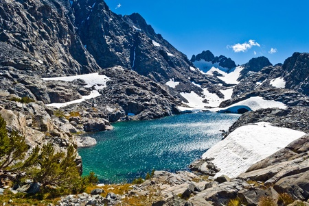 high sierra: Southwest Glacier and the Ritter Lakes in the Ritter Range, Ansel Adams Wilderness, California  Stock Photo