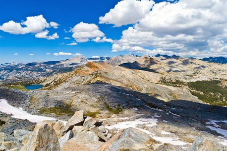 adams: The Cathedral Range separates Yosemite National Park from the Ansel Adams Wilderness in the Sierra and Inyo National Forests  Stock Photo