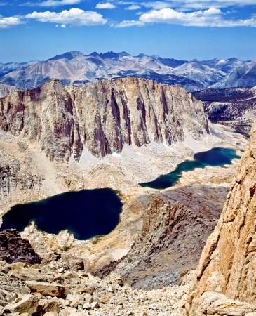 high sierra: Mt  Hitchcock, Hitchcock Lakes and the Kaweah Peaks Ridge are seen from the Mt  Whitney Trail in Sequoia National Park  Stock Photo