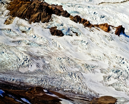 Rainbow Glacier flows down the souteast flank of Mt. Baker, Washington.