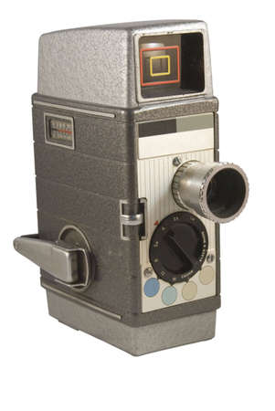 Retro cine camera isolated on white Stock Photo