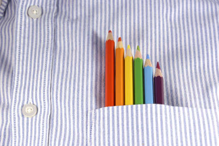 Colored pencils in shirt pocket