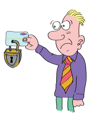 credit crunch: man holding locked credit card