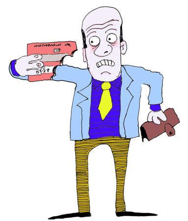 man holding credit card bitten in half