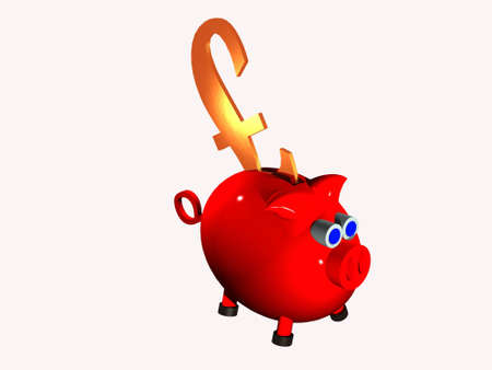 Red plastic piggy bank with large gold pound sign stuck in slot