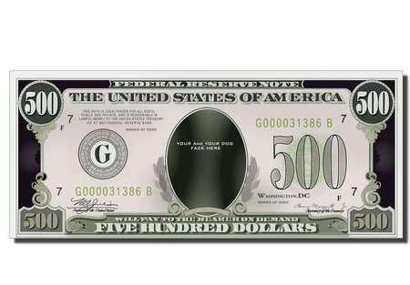 Blank Funny 500 Dollars Usa Banknote photo