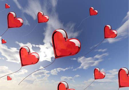 Hearts love ballons photo