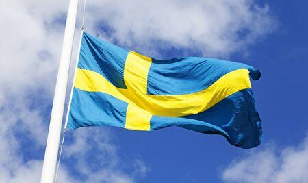 Schwedische Flagge weht im Wind