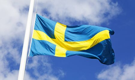 Swedish flag blows in the wind