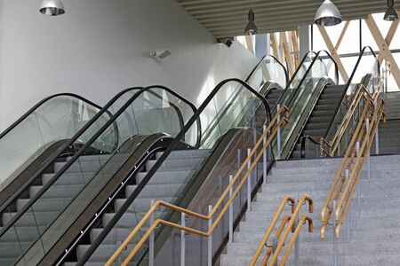 escalators and stairs at the eastern train station in Umea