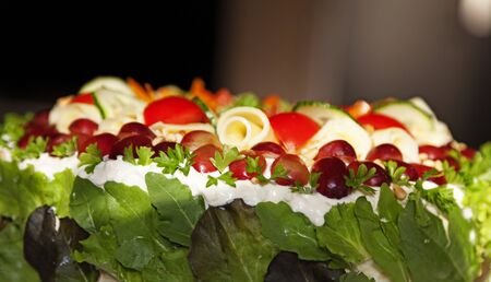 vegetarian sandwich cake with lots of filling and toping from the side Stock Photo