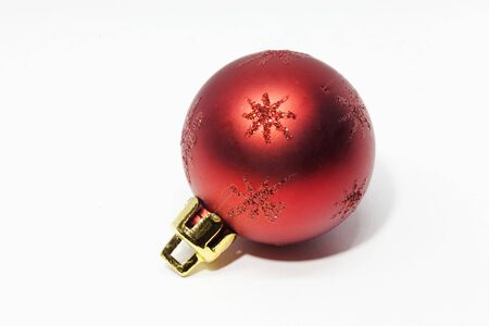 a red Christmas ball on white background