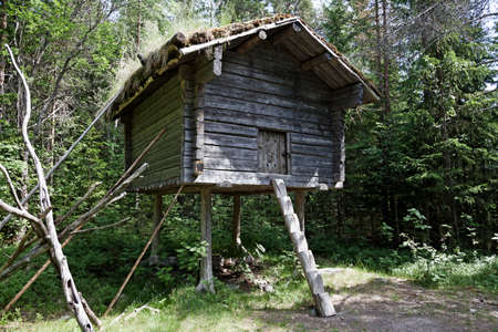 a house on stilts, one of the houses where the Sami lived long ago