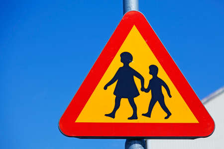 traffic sign warning for children crossing the road