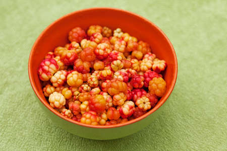 a bowl of cloudberries from the forest