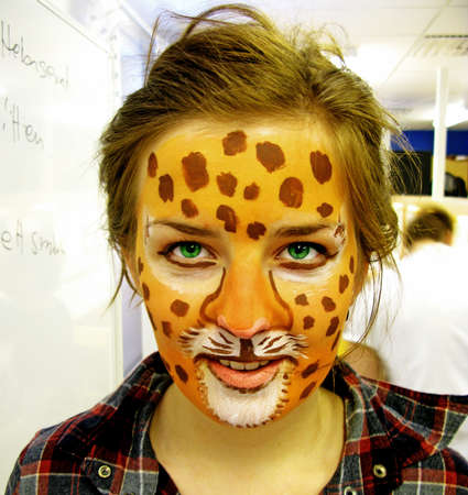 Umea, Norrland Sweden - March 6, 2011: young woman has put on make-up for a masquerade party Éditoriale