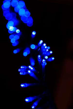 blue Christmas lights that become extreme bokeh