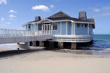 st lucia: Pier Restaurant Halcyon Beach St Lucia Editorial