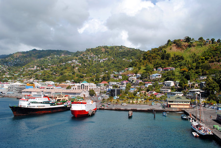 Kingstown harbour in St Vincent Stock Photo