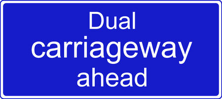 the carriageway: Dual carriageway ahead sign Stock Photo