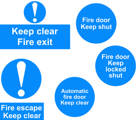 Fire door signs collage photo