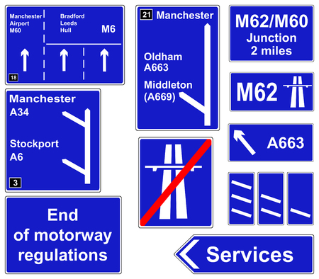 deceleration: Motorway regulations signs collage Stock Photo