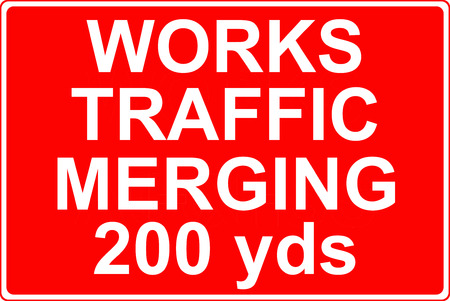 merging: Works traffic merging sign