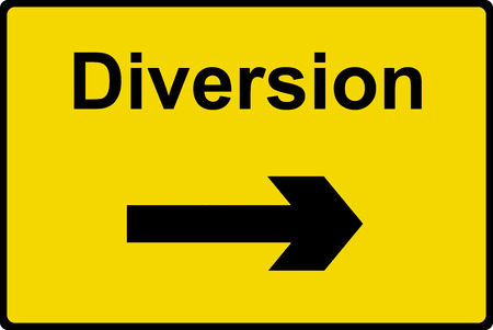 Diversion sign Stock Photo