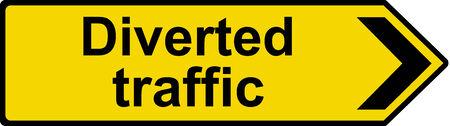 diverted: Diverted traffic sign Stock Photo