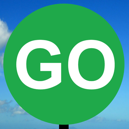 operated: Manually operated temporary go sign Stock Photo