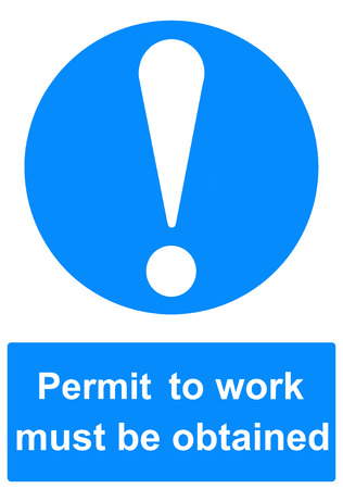Permit to work sign Stock Photo