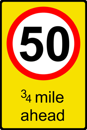 Temporary speed limit ahead sign photo