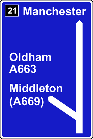 deceleration: The third motorway sign Stock Photo