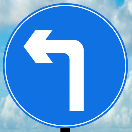 turn left: Turn left ahead traffic sign