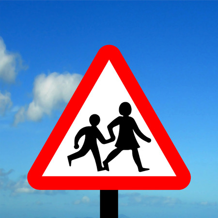 Warning triangle children crossing