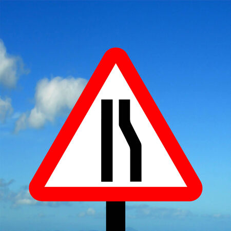narrows: Road narrows on right traffic sign