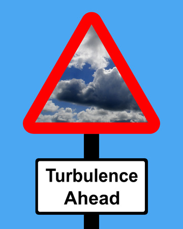 turmoil: Warning Turbulence ahead sign Stock Photo