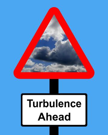 upheaval: Warning Turbulence ahead sign Stock Photo