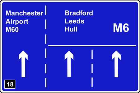 deceleration: Where the left hand lane of a motorway leads to another motorway sign