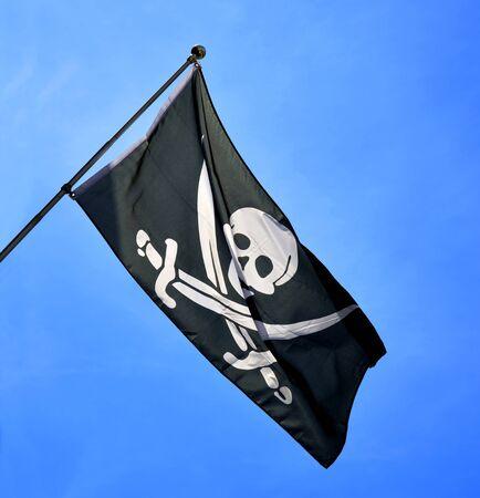 Skull and cross swords flag Stock Photo