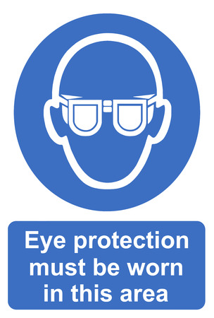 eye protection: Eye protection must be worn in this area Stock Photo