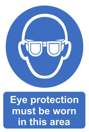 elementos de protecci�n personal: Protecci�n de los ojos debe usarse en esta zona Foto de archivo
