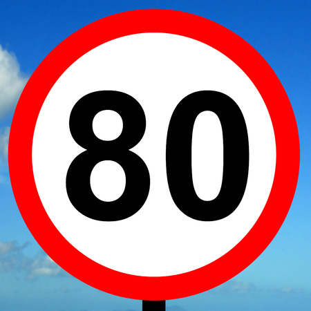 imposed: 80 kpm speed limit road traffic sign. Stock Photo