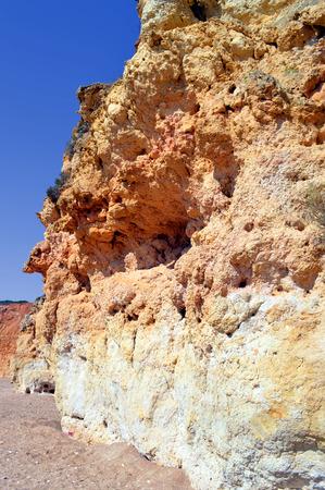 barlavento: Spectacular cliffs on Senhora Da Rocha Nova Beach in Portugal