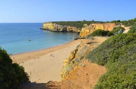 barlavento: Spectacular cliffs on Senhora Da Rocha Nova Beach in Portugal