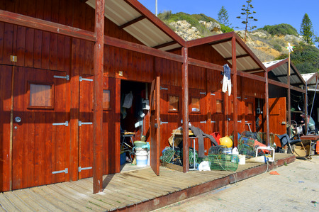 barlavento: The fishing huts, Senhora Da Rocha Beach on the Algarve in Portugal